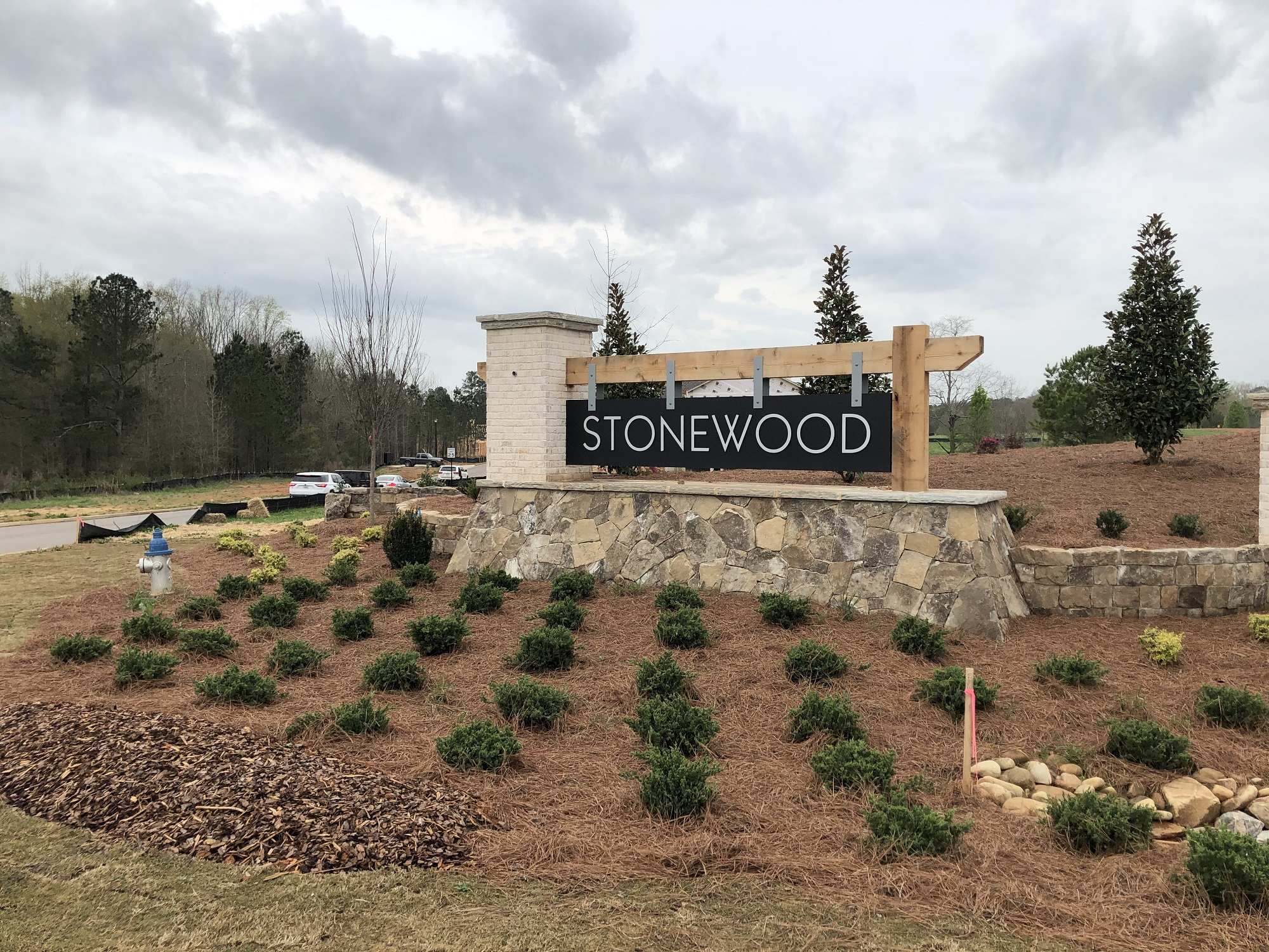entrance monument at Stonewood in Watkinsville